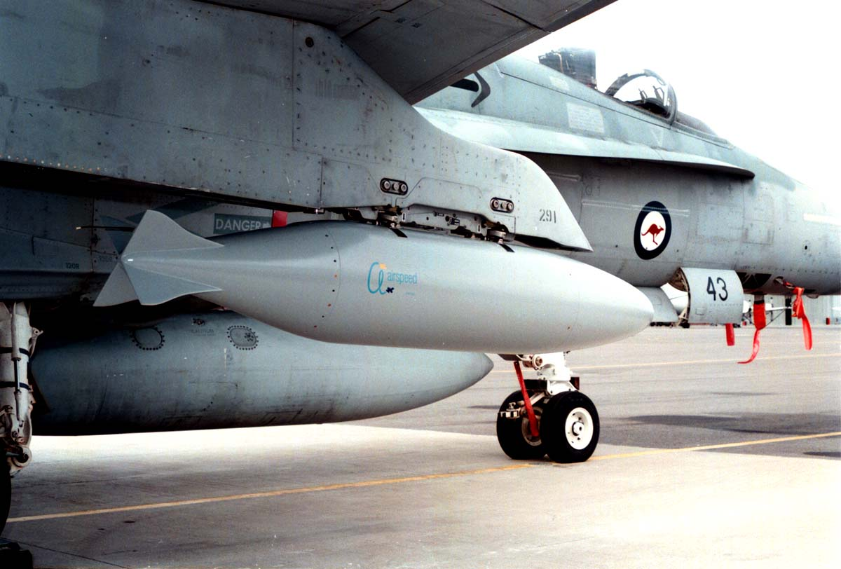 Cargo Pod installed on underwing pylon of F/A-18 Classic Hornet